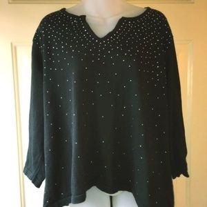 Cathy Daniels Black Sweater With Bling 2X